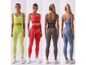 oblečení  - fitness - krásný barevný fitness set na cvičení s leopradím vzorem - dámské legíny - sportovní podprsenka