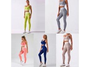 oblečení  - fitness - krásný barevný fitness set na cvičení s hadím vzorem - dámské legíny - sportovní podprsenka