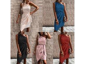 oblečení  - šaty  - letní šaty - krásné společenské šaty na jedno rameno se zavazováním - společenské šaty - dámské šaty