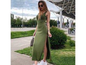 oblečení  - šaty - letní šaty - dámské dlouhé šaty s rozparkem po straně - dámské šaty - maxi šaty
