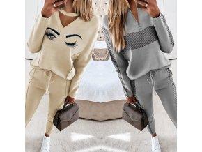 oblečení  - tepláková souprava - dámská módní tepláková souprava ve dvou variantách - dámské tepláky - mikiny