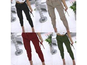 oblečení  - dámské kalhoty - dámské módní pohodlné kalhoty s páskem -  slevy dnes