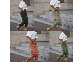 oblečení  - dámské kalhoty - nadměrné velikosti - dámské módní cargo kalhoty s kapsami - výprodej skladu