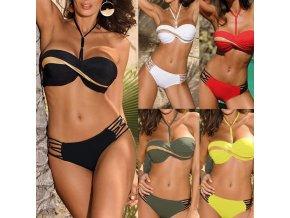 oblečení - plavky - dámské dvoudílné plavky se zajímavým zdobením a zlatým pruhem - dámské plavky - dvoudílné plavky - výprodej skladu