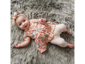 Dětské oblečení - krásný set pro holčičku v květinovém vzoru - šaty - oblečení pro miminka