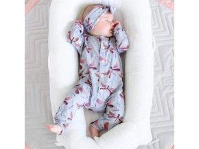 Dětské oblečení - krásná dětská kombinéza v setu s čelenkou s potiskem vážky - oblčení pro miminko - výprodej skladu