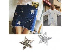 Samolepky - krásné kamínkové ozdobné samolepky ve tvaru hvězdiček na zdobení oblečení  - kreativní tvoření  - výprodej skladu