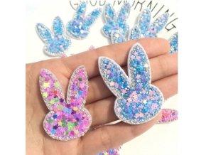 Samolepky - krásná ozdobná samolepka ve tvaru králíčka s třpytky - dekorace - králík