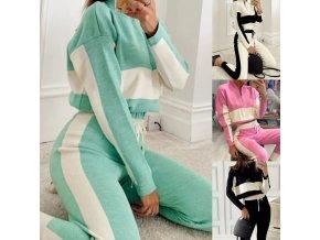 oblečení  - tepláková souprava - dámská módní tepláková souprava zdobená pruhy - dámské tepláky - mikiny