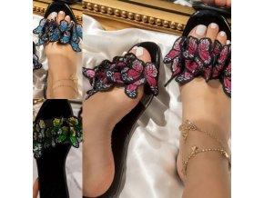 Boty - pantofle - dámské boty - letní pantofle s 3D motýly - dámské pantofle - dárky pro ženy