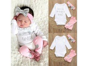 Dětské oblečení - krásný set pro holčičku v bílo růžové barvě s flitrovanou mašlí - obleční pro miminko - čelenka