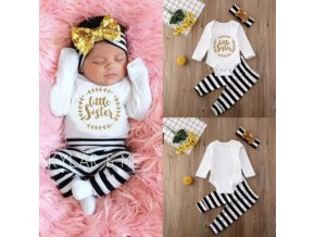 Dětské oblečení - krásný set pro holčičku  little sister s flitrovanou mašlí - obleční pro miminko - čelenka - body