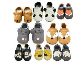Dětské oblečení - boty - dětské novorozenecké  boty pro chlapečka se zvířátky - dětské capáčky