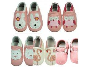 Dětské oblečení - boty - dětské novorozenecké  boty pro holčičku v růžových barvách - dětské capáčky