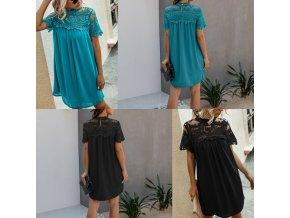 oblečení  - šaty - letní vzdušné šaty zdobené krajkou u krku ve dvou barvách - letní šaty - dámské šaty