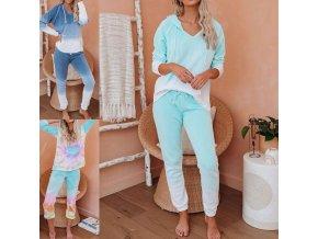 oblečení - tepláková souprava - dámská barevná módní tepláková souprava z příjemného materiálu - dámské tepláky - dámské mikiny