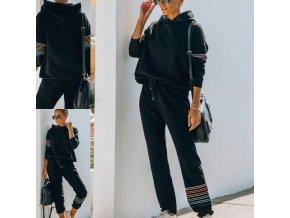 oblečení - tepláková souprava - dámská černá tepláková souprava s barevnými proužky - dámské mikiny - dámské tepláky