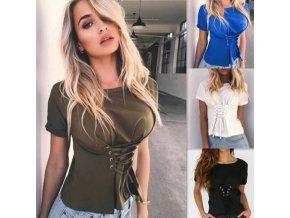 oblečení - dámská trička - dámské módní tričko se staženým pasem na zavazování - dámské halenky - slevy dnes