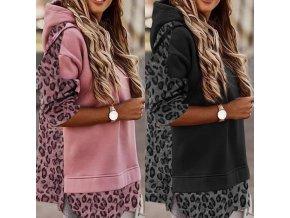 oblečení - mikiny - dámská volná mikina s leopardím vzorem ve dvou barvách - dámské mikiny