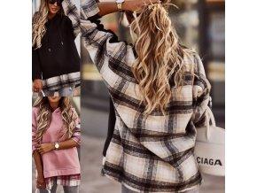 oblečení - mikiny - dámská volná mikina s kostkovaným vzorem ve dvou barvách - dámské mikiny