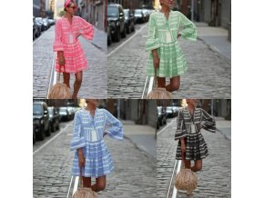 oblečení - šaty - letní vzorované vzdušné šaty s volánky - letní šaty - dámské šaty - slevy dnes
