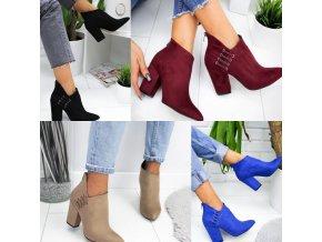Boty - dámské boty - dámské podzimní boty na širokém podpatku se zdobením - dámské kozačky - dárky pro ženu