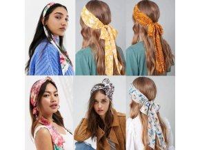 Vlasy - účesy - ozdobnné látkové čelenky do vlasů na zavazování - čelenka