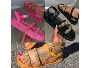 Boty - dámské boty - dámské letní sandály s ozdobými řetízky - dámské sandály - výprodej skladu