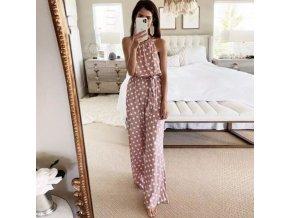 oblečení  - overal - dámský dlouhý overal v růžové barvě s puntíky - dámský overal