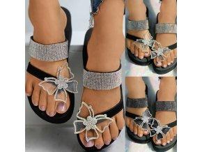 Boty - dámské boty - dámské letní žabky zdobené kamínky a třpytívým motýlem - dámské žabky - motýli