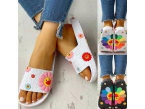 Boty - pantofle - dámské boty - dámské letní pevné pantofle s 3D obrázky květin - dámské pantofle