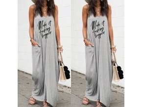 oblečení  - šaty - dlouhé letní šedé šaty s kapsami a nápisem - letní šaty - dlouhé šaty - dlouhé letní šaty