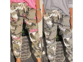 oblečení  - kalhoty - dámské volné maskáčové kalhoty s kapsami - dámské kalhoty - výprodej skladu