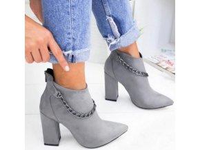 Boty - dámské boty - dámské podzimní boty na širokém podpatku zdobené řetízkem - dámské kozačky - výprodej skaldu