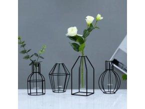 Dekorace - váza - dekorativní kovová černá váza ve větší velikosti - dekorace - výprodej skladu