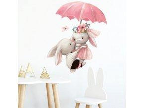 Dekorace - samolepka - dekorativní samolepky do dětského pokoje se zájíčky  - samolepky na zeď - dekorace na zeď