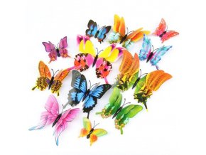 Dekorace - samolepka - dekorativní 3D samolepky motýlů 12 ks v sadě - motýli - dekorace na zeď
