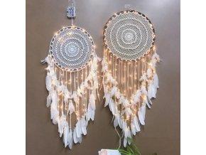 Dekorace - dekorační lapač snů se světýlky - lapač snů - dekorace na zeď