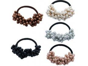 Vlasy - účesy - gumička do vlasů s perličkami v různých barvách - gumičky - výprodej skladu