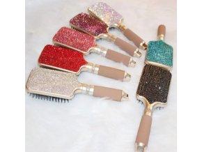 Vlasy - účesy - krásný třpytivý kartáč na vlasy s kamínky - kartiáč na vlasy - dárky pro ženu