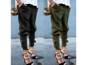 oblečení  - kalhoty - dámské kalhoty - dámské stylové kalhoty zdobené pásky - výprodej skladu