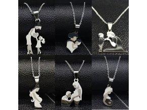 Řetízek - krásný řetízky s tématikou mateřství ve stříbrné barvě - bižuterie - miminko