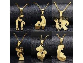 Řetízek - krásný řetízky s tématikou mateřství ve zlaté barvě - bižuterie - miminko