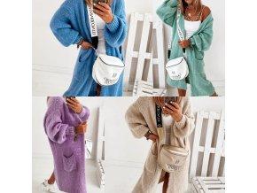 oblečení  - kabát - dámský pletený kabát s kapucí a kapsami - dámské svetry - cardigan