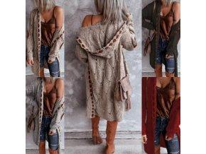 oblečení  - kabát - dámský pletený svetr s kapucí a ochranou na loktech - dámský svetr - výprodej skladu