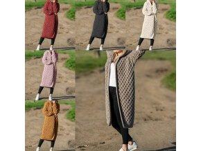 oblečení  - dámský kabát - dámský pletená dlouhý kabát s kapucí ve více barvách - kabát - cardigan