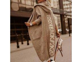 oblečení  - dámský kabát - dlouhý svetr s kapucí a nápisem na zádeh - výprodej skladu - dámské svetry