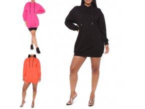 oblečení  - dámské šaty - mikinové šaty - dámské pohodlné mikinové šaty s kapucí - mikina -šaty