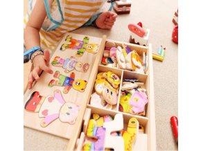 Dětské dřevěné puzzle s medvídky