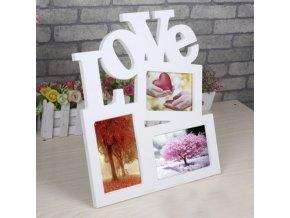Dřevěný dekorační rámeček na fotky - LOVE